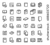set of 36 book thin line icons. ... | Shutterstock .eps vector #688603720