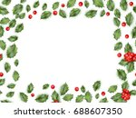 framed holly isolated on white... | Shutterstock .eps vector #688607350