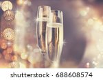two glasses of champagne... | Shutterstock . vector #688608574