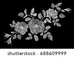 embroidery flower white rose... | Shutterstock .eps vector #688609999