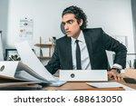 portrait of shocked businessman ... | Shutterstock . vector #688613050
