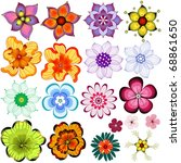 Stock vector collection decorative isolated flowers on white vector 68861650