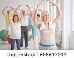 group of happy seniors during... | Shutterstock . vector #688617214