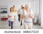 happy active seniors exercising ... | Shutterstock . vector #688617223