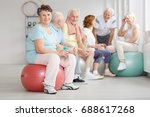 old happy people having a water ... | Shutterstock . vector #688617268