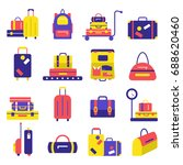 bags icon set. luggage images. | Shutterstock .eps vector #688620460
