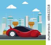 colorful scene futuristic city... | Shutterstock .eps vector #688622218