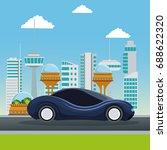colorful scene futuristic city... | Shutterstock .eps vector #688622320