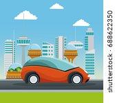 colorful scene futuristic city... | Shutterstock .eps vector #688622350