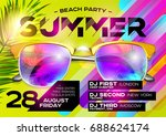 beach party poster for music... | Shutterstock .eps vector #688624174