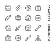 set of car related line icons...   Shutterstock .eps vector #688629520