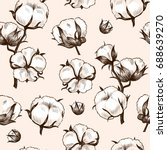 cotton plant . vector seamless... | Shutterstock .eps vector #688639270