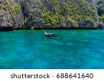 long tail boat at maya bay | Shutterstock . vector #688641640