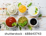 selection of different sauces... | Shutterstock . vector #688643743