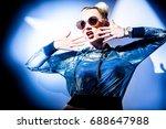 fashion concept   portrait of a ... | Shutterstock . vector #688647988