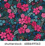 amazing seamless floral pattern ... | Shutterstock .eps vector #688649563