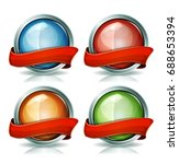 buttons and badges with ribbons ... | Shutterstock .eps vector #688653394