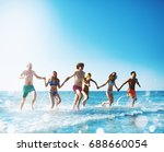 group of friends run in the sea.... | Shutterstock . vector #688660054