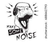 music fan dinosaur tyrannosaur... | Shutterstock .eps vector #688662793