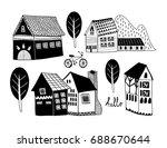 doodle scandinavian style... | Shutterstock .eps vector #688670644