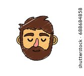 man head with closed eyes and... | Shutterstock .eps vector #688684858