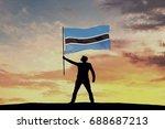 male silhouette figure waving... | Shutterstock . vector #688687213