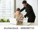 happy architects using digital... | Shutterstock . vector #688688710
