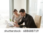 office workers using digital... | Shutterstock . vector #688688719