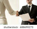 employment handshake  smiling... | Shutterstock . vector #688690273