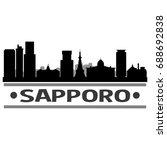 sapporo skyline silhouette city ... | Shutterstock .eps vector #688692838