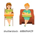 mothers are breastfeeding on a... | Shutterstock .eps vector #688696429