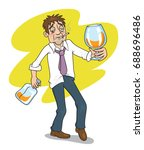 drunk businessman with a bottle ... | Shutterstock .eps vector #688696486