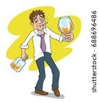 drunk businessman with a bottle ... | Shutterstock .eps vector #688696486