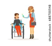 disabled young woman in...   Shutterstock .eps vector #688700548