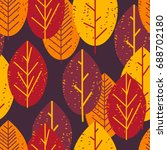 seamless pattern with autumn... | Shutterstock .eps vector #688702180
