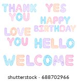 set of colorful hand drawn... | Shutterstock .eps vector #688702966