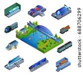 isometric modern trains concept   Shutterstock .eps vector #688706299