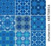 blue ornamental background in ... | Shutterstock . vector #688708816