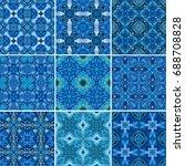 blue ornamental background in ... | Shutterstock . vector #688708828
