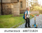 pupil of primary school riding... | Shutterstock . vector #688721824