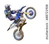 motorcycle Enduro rider in flight, on a white background to clip