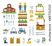 big set of farm icons. flat... | Shutterstock .eps vector #688731310