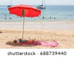 relaxing on beach during holiday   Shutterstock . vector #688739440