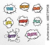 thx   plz  wtf  lol  rotfl  wow ... | Shutterstock .eps vector #688739938