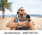freelancer walking along the... | Shutterstock . vector #688740733