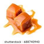 caramel candies and caramel... | Shutterstock . vector #688740940