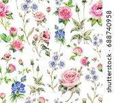 seamless watercolor rose...   Shutterstock . vector #688740958