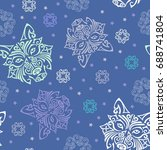 Seamless Pattern With Wolf Or...