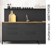 mockup interior kitchen in loft ... | Shutterstock . vector #688745938
