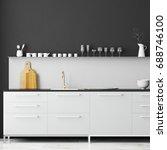 mockup interior kitchen in loft ... | Shutterstock . vector #688746100